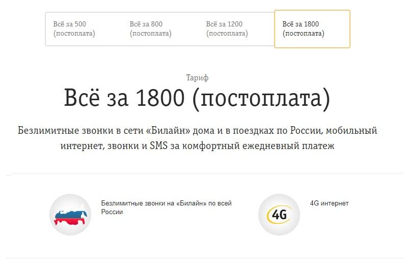 Тариф «Все за 1800» Билайн с Постоплатой. Как подключить