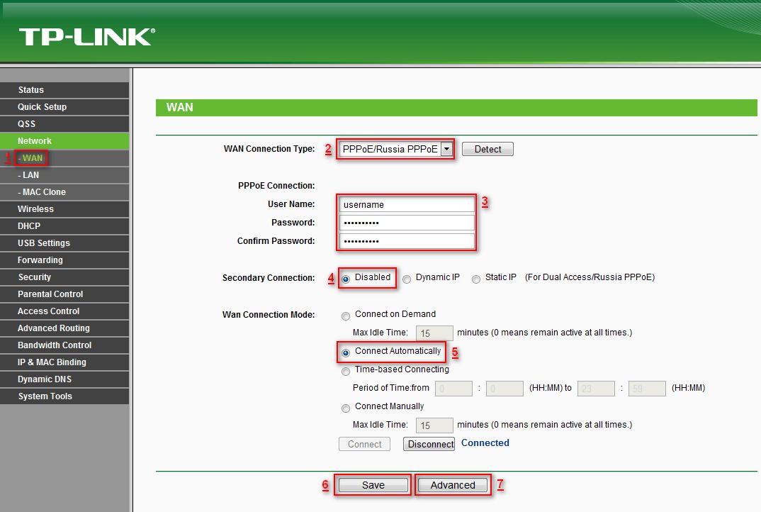 Как настроить роутер TP-Link для Ростелеком