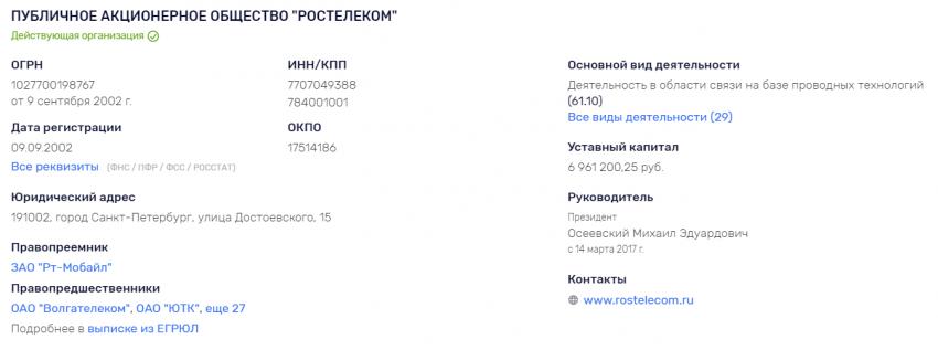 Реквизиты ПАО Ростелеком: ИНН, ОКПО, КПП, ОКТМО, ОГРН, ЕГРЮЛ